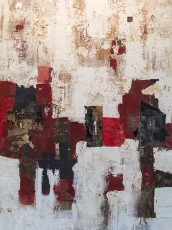Abstract Painting Art: Strokes with Different Color Patterns like Red, Gray and White