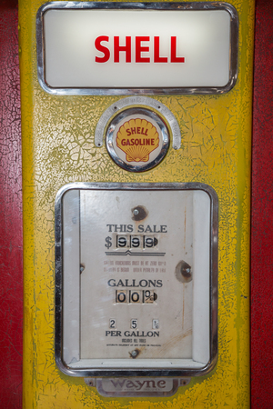 Shell Vintage Red and Brilliant Gasoline Pump.