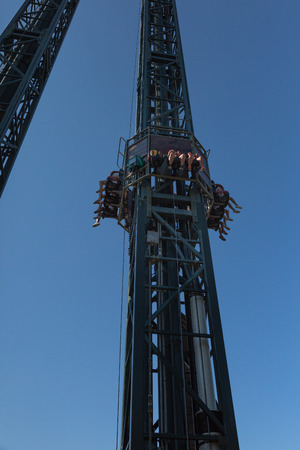 Metallic Tower in the Amusement Park: Crazy Speed Uphill and Downhill.