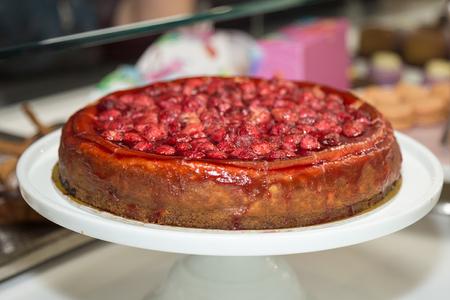 Fresh Jam Tart with Fruits and Strawberries. Stock Photo