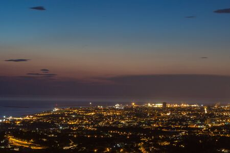 Aerial View of the city of Livorno in Tuscany at Dusk.