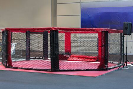 Empty Professional MMA Cage for Fighting Competition. Reklamní fotografie