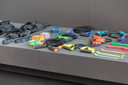 Various Kinds of Ropes and Elastics: Fitness and Gym Equipment.