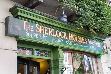 Sherlock Holmes Museum Sign in 221 Baker Street, London. Editorial