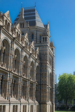 Side Facade of The Natural History Museum in London.