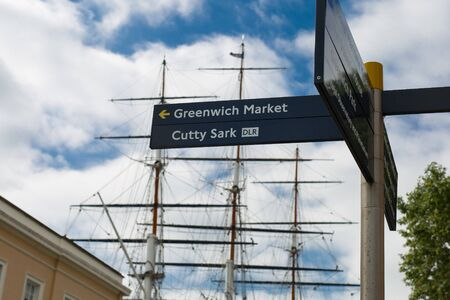 Greenwich Market & Cutty Sark dlr Directional Sign in London.