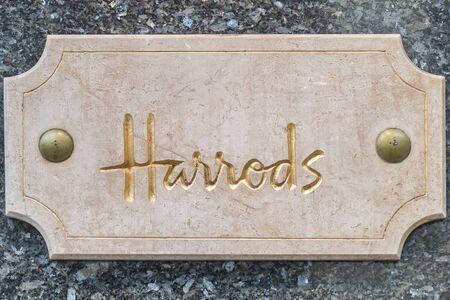 Harrods Sign & Symbol in London, Shop Theme. Stock Photo