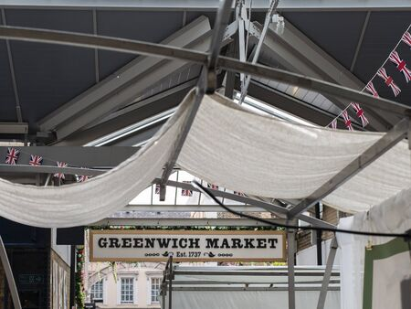 Greenwich Market Sign & Symbol in London. Stock Photo