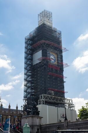 Elizabeth Tower, also known as Big Ben or the Clock Tower, tower under Restoration in 2019, London.