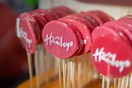 Group of Red, Round and Sweet Lollipops.