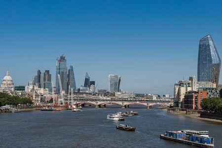 Blackfriars Bridge, London Skyscrapers Skyline and River Thames, London. Stock Photo