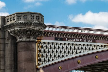 Detail of Blackfriars Bridge over the River Thames in London.
