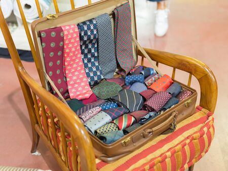 24-hour Briefcase Full with Various Types of Men's Ties. Banque d'images