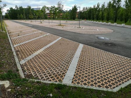 Empty Public Car Park in the City of Parma in Italy due to Emergency Measures Taken during the Coronavirus Pandemic.
