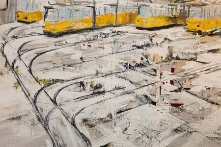 Abstract Paint with Black and White Strokes and Yellow Trams.