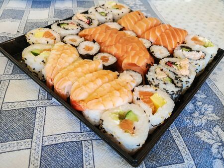 Different Types of Sushi Ready to be Tasted. Banque d'images