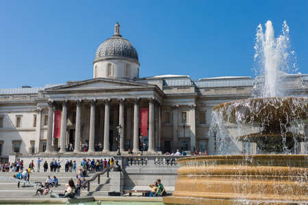 The National Gallery, an art museum in Trafalgar Square in the City of Westminster, in Central London.