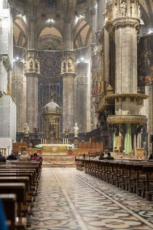 Aisle of the Milan Cathedral: Religious Theme.