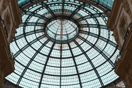 Ceiling of Vittorio Emanuele II Gallery: shopping mall in Milan in the form of a Pedestrian Covered Street. Éditoriale