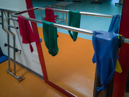 Red, Green and Blue Elastic Bands for Physiotherapy Use within a Medical Center. Imagens