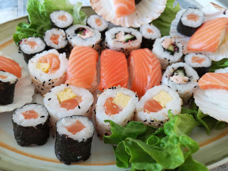 Different Types of Sushi Ready to be Tasted. Imagens