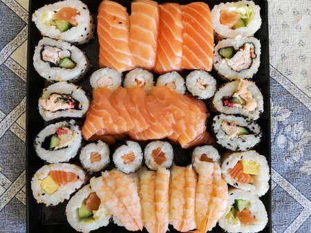 Different Types of Sushi Ready to be Tasted. Фото со стока