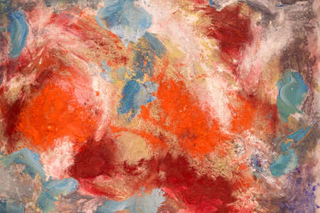 Paint on Canvas: Abstract Art in Red, Gray, White and Blue Colors - Background.
