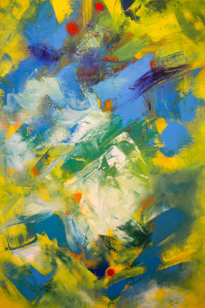Paint on Canvas: Abstract Art in Yellow, Green and Blue Colors - Background.