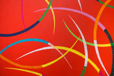 Paint on Canvas: Abstract Art with Red Background and Colorful Semicircles. Фото со стока