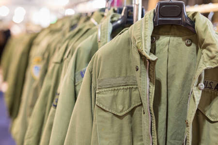 Group of Military Style Men's Jackets: Green Clothes.
