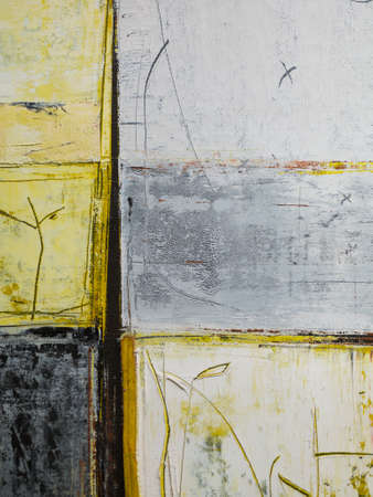 Paint on Canvas: Abstract Art in Yellow, Black, Gray and White - Background.