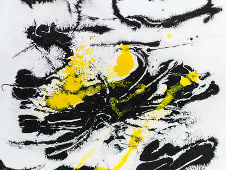 Paint on Canvas: Abstract Art in Yellow, Black and White - Background.