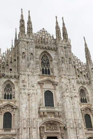 Exterior of Milan Cathedral in Sunny Day.