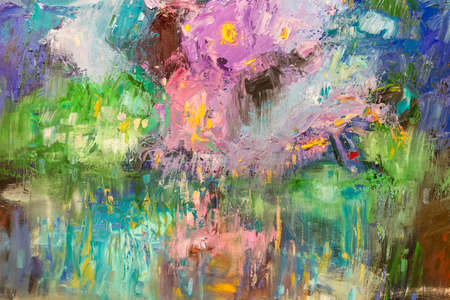 Paint on Canvas: Abstract Art in Pink, Green and Blue Colors - Background.