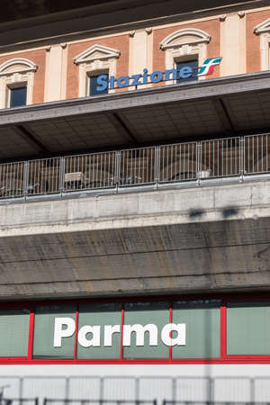 Exterior of Parma Public Empty Train Station, Italy.