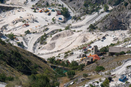 View of the Carrara Marble Quarries with Excavation Equipment ready for Work.