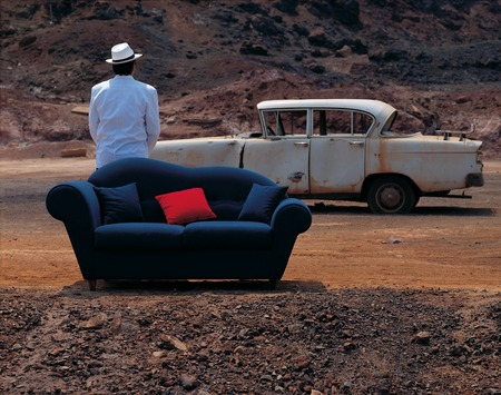 sofa in outdoor with old car photo