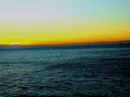 Sunset in the port of Thessaloniki Stock Photo