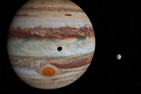 appears: Jupiter and its satellite Stock Photo