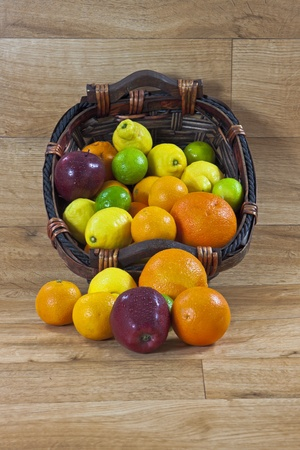 a mixture of fruits with vitamin C Stock Photo