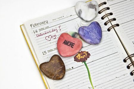 Memory in an appointment calendar for Valentines Day