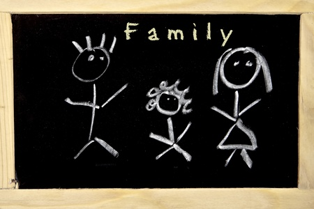 a chalkboard with the drawing of a family photo