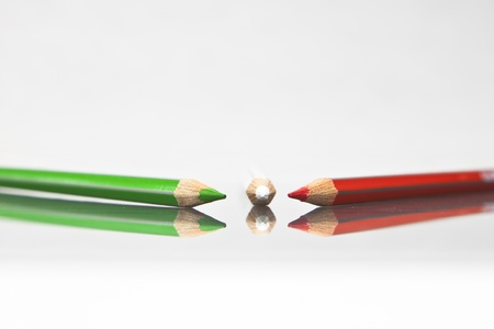 pencils in several colours