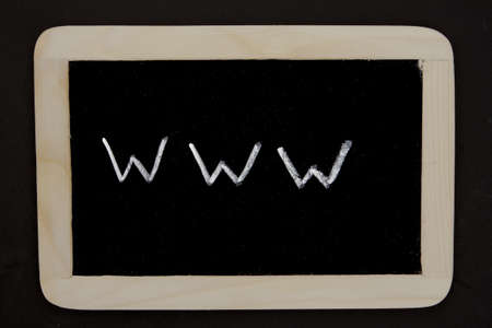 a chalkboard with the writing www as a symbol for the internet