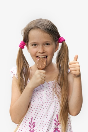 7 year old girl: 7 year old girl with ice cream