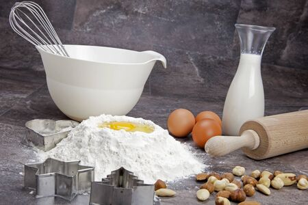 raw ingredients for preparing a dough for cookies