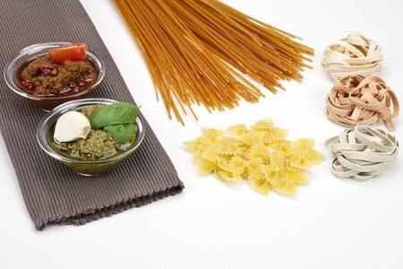 different kinds of pasta with pesto two different varieties