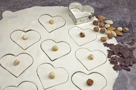 a rolled out dough for biscuits with nuts cutter for cookies