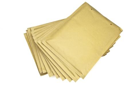several brown Envelopes white background