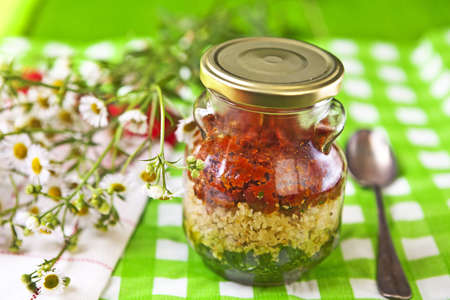 Sauce in the national colors of Italy, consisting of arugula and basil, dried tomatoes and pine nuts Pesto Cheese